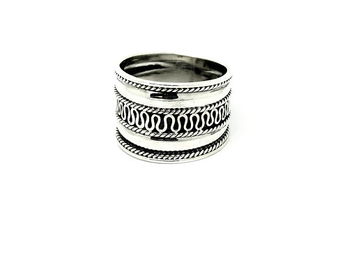 Large Bali Sterling Silver Braided Ring