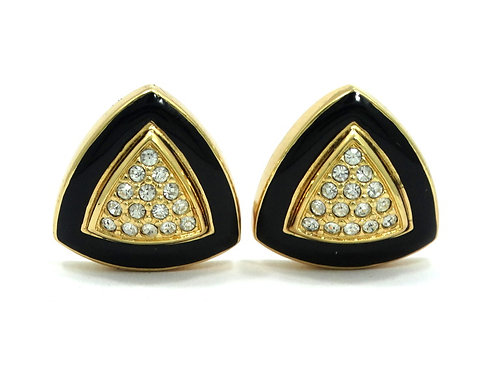 Retro CHRISTIAN DIOR Black Enamel Rhinestone Gold Triangle Clip-On Earrings