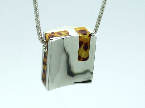 "Italy ""B"" Concave Square Slide Pendant ANIMAL PRINT ENAMEL 925 Silver Necklace"
