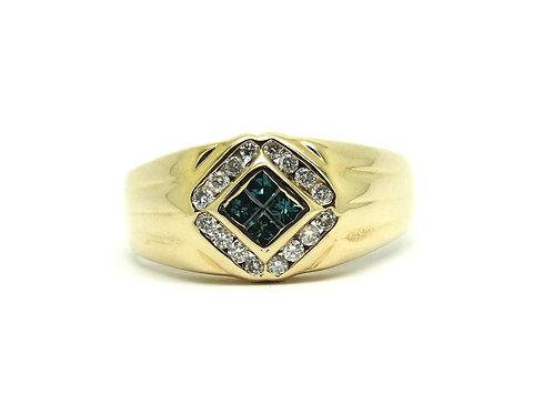 Elegant Men's Blue & White Diamond 14k Gold Ring