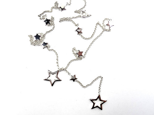 Gorgeous TIFFANY & CO Lariat Multi STAR 925 Sterling Silver Necklace