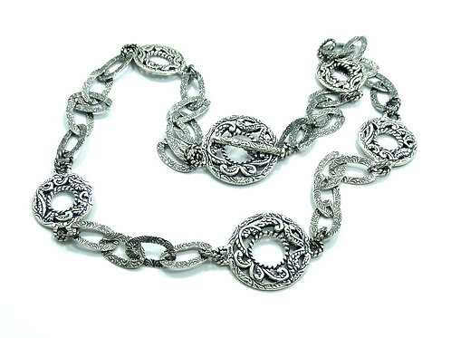 Carolyn Pollack RELIOS 925 Silver Filigree Disc Link Toggle 18 inch Necklace