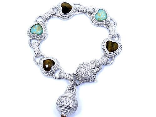 "JUDITH RIPKA TIGER'S EYE TURQUOISE HEART CZ Sterling Silver Bracelet 7-5/8"""