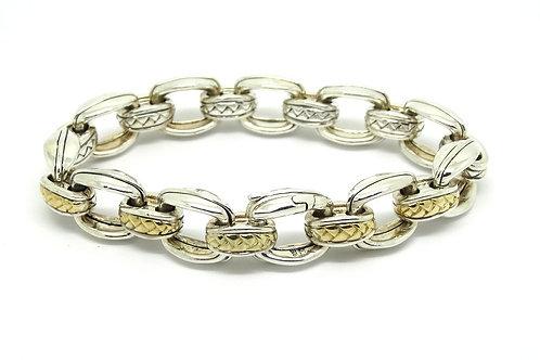 SCOTT KAY 925 Silver 750 Gold Weave Link Bracelet