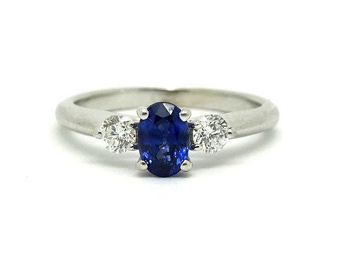 Stunning Ceylon SAPPHIRE Diamond Platinum Ring