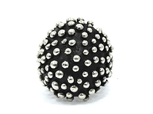 Fabulous Mexican BRUTALIST MODERNIST Domed Ball Beaded Sterling Silver Ring