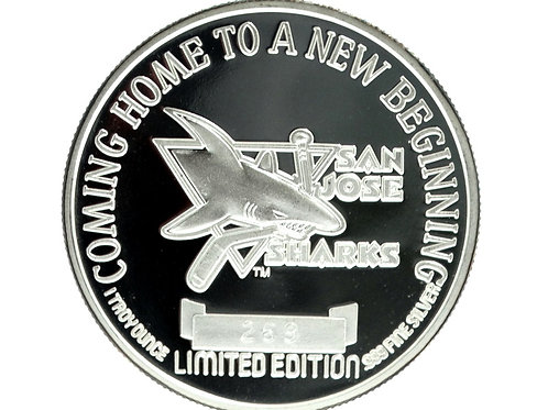 San Jose SHARKS 1993 Arena Inauguration 1 Troy Oz 999 Fine Silver Coin