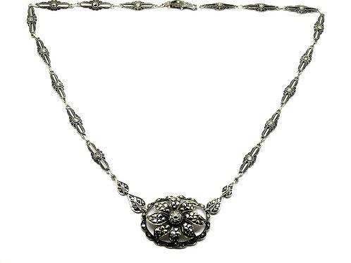 Vintage Marcasite Flower Sterling Silver Necklace