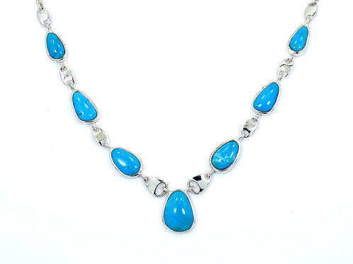 "Lovely WHITNEY KELLY WK Blue TURQUOISE 925 Sterling Silver 18"" Necklace"