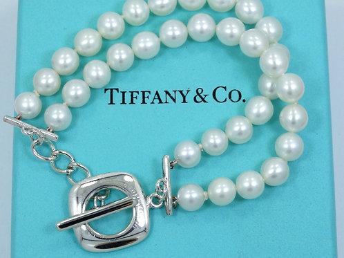 TIFFANY & CO IRRIDESSE Double Strand PEARL Cushion Toggle 925 Silver Bracelet