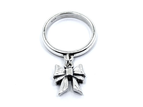 Retired JAMES AVERY Dangling 3D BOW Charm 925 Sterling Silver Ring 3.5