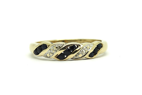 Channel SAPPHIRE & Pave DIAMOND 14k Gold Ring Band