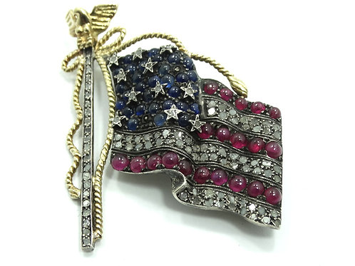 Antique AMERICAN FLAG 14k Gold & 925 Silver DIAMOND SAPPHIRE RUBY Brooch Pin