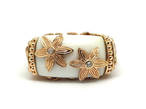 Beautiful Rose Gold Plate Sterling Silver White Onyx Diamond DAISY Flower Ring