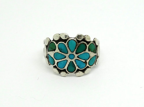 Turquoise Inlay ZUNI Floral 925 Silver Ring s-5