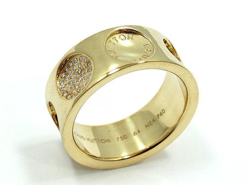LOUIS VUITTON EMPREINTE Diamond CONCAVE CIRCLE 18k Gold Ring Band sz 64 NEA 740