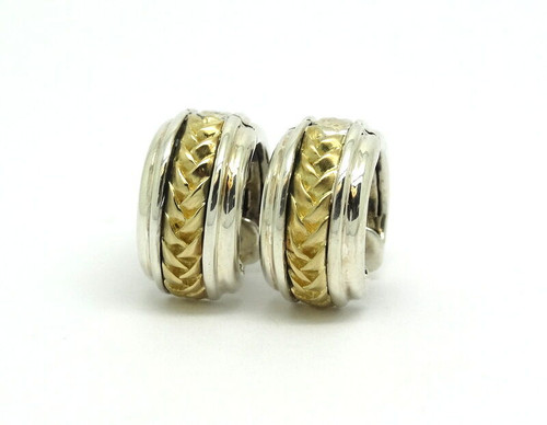 7a01acb60 SCOTT KAY SK 925 750 HUGGIE HOOP BASKET WEAVE 18K Gold Sterling Silver  Earrings