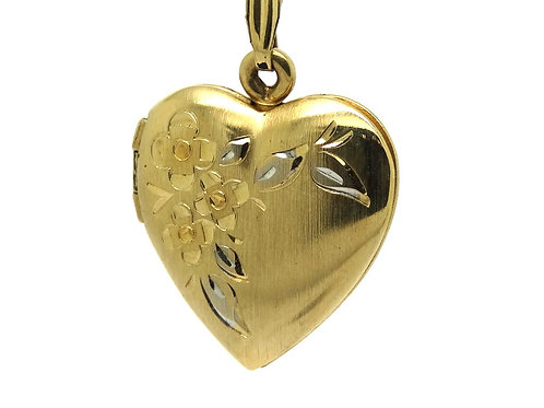 Vintage 14k Gold Filigree Etched Heart Locket