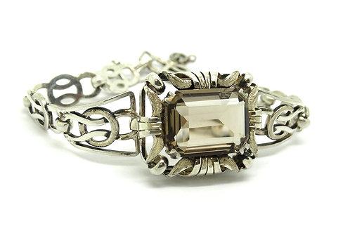 Vintage SCANDINAVIAN Smoky Quartz Silver Bracelet