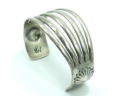 Old Pawn JOHNNY MIKE BEGAY Navajo Sterling Silver Cuff Bangle