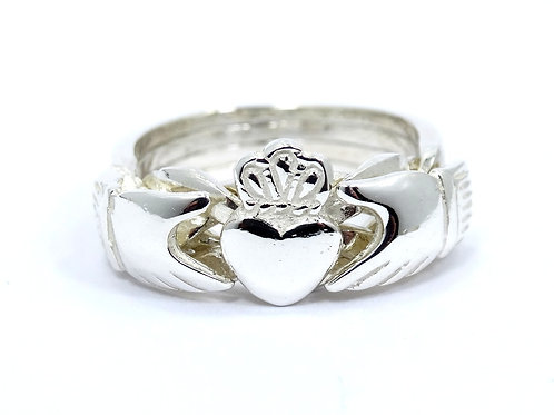 IRISH CELTIC CLADDAGH PUZZLE RING Hands & Heart Sterling Silver Band s.5