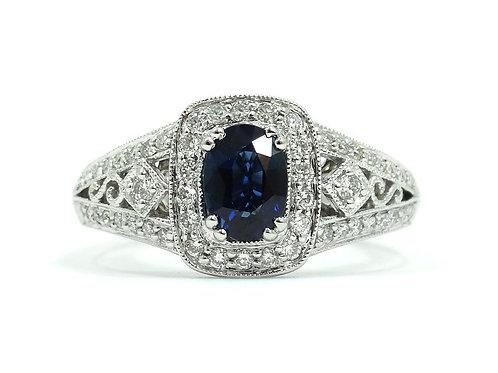 GABRIEL & CO Blue SAPPHIRE Diamond Halo 14k White Gold Ring s.7
