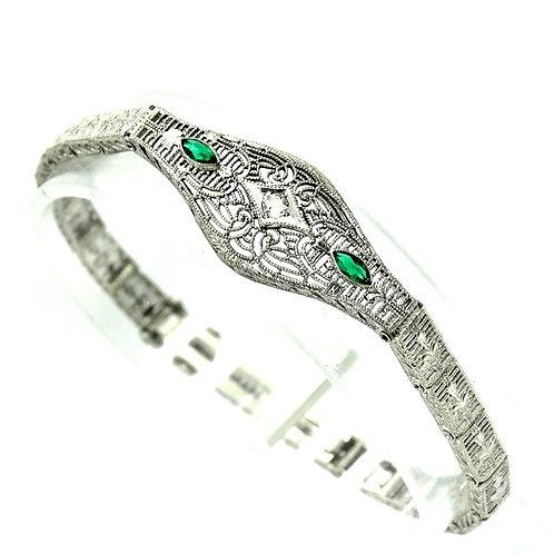 Art Deco Pierced Filigree ESEMCO Faux Diamond/Emerald Sterling Silver Bracelet