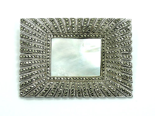 Antique ART DECO Mother of Pearl BURSTING Marcasite Sterling Silver Brooch Pin