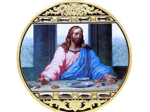 2017 JESUS LAST SUPPER American Mint SWAROVSKI CRYSTAL Gold Plate Coin