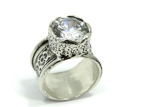 ISRAEL Modernist CZ Statement Sterling Silver Cigar Band Cubic Zirconia Ring