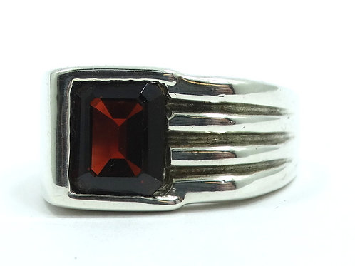 TOLMAN CREATIONS Mens Vintage Modernist Handmade Sterling Silver GARNET Ring s.9