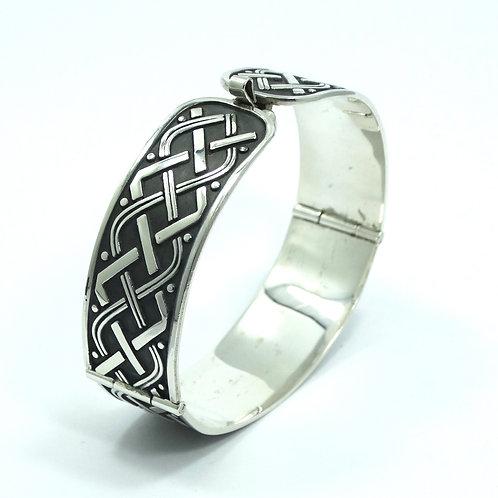 Vintage Mexico C-II Weave CELTIC KNOT Design 925 Silver Hinge Bangle Bracelet