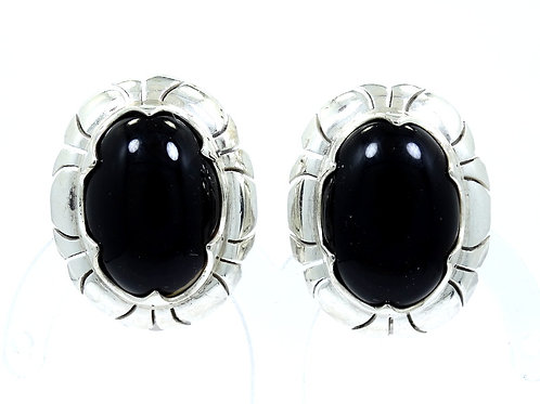 Gorgeous Vintage MEXICO Oval Shape BLACK ONYX 950 Silver Clip-On Earrings