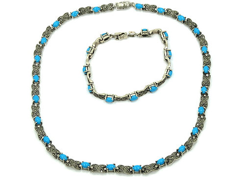 Vintage Sleeping Beauty TURQUOISE Marcasite Sterling Silver Bracelet & Necklace