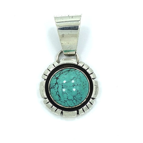 Native American Circular MARTINEZ Sterling Silver Turquoise Pendant