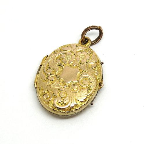 Art Nouveau Locket Gold Filled Filigree Pendant