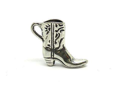 Cowgirl Heeled Boot Sun and Scroll Pattern Design Sterling Silver Charm