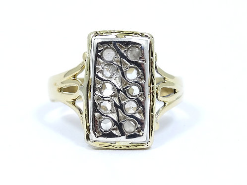 Antique ROSE Cut DIAMOND set in Silver 18k Yellow Gold Ring s.10