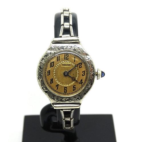Antique Art Deco BULOVA 14k White Gold Sapphire crown Swiss Winding Watch