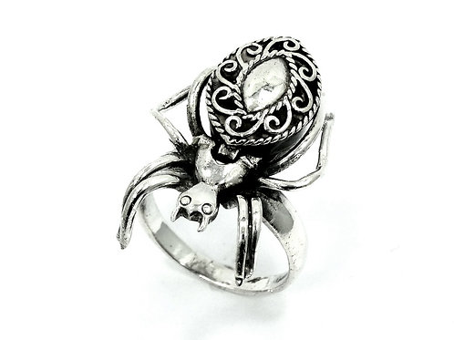 Amazing BLACK WIDOW SPIDER Sterling Silver POISON Ring