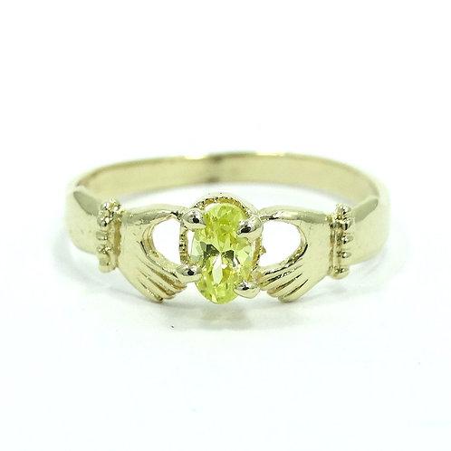 Cute IRISH CLADDAGH Style Yellow CZ 14k Gold Ring 6.75 14KH
