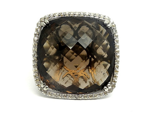 Huge Pillow SMOKY QUARTZ & Crystal QCU Silver Ring