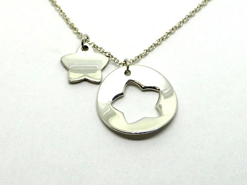 T&Co Silver STENCIL DOUBLE Concave STAR Tiffany&Co Necklace