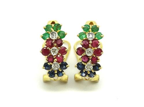 Emerald Ruby Sapphire 14k Gold Flower Earrings