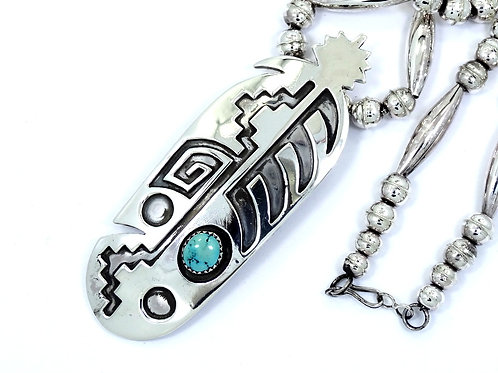 NAVAJO Signed ELLA S. Blue TURQUOISE FEATHER ARROW Sterling Silver Necklace