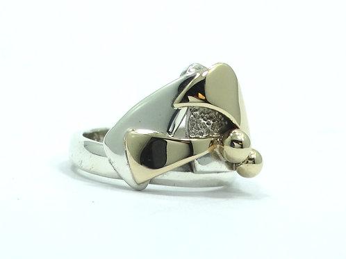 Abstract Modernist PATRICIA KARNES Vintage 14K Gold & Sterling Silver Ring