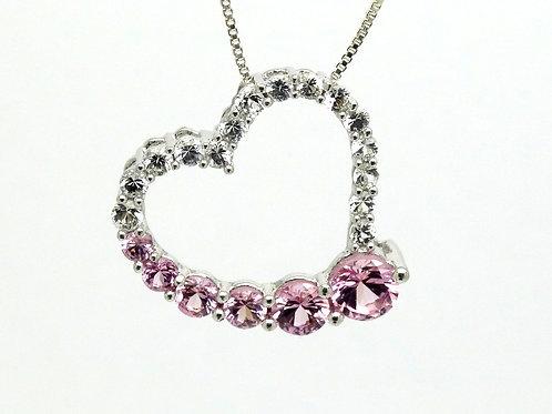 10k White Gold PINK & WHITE CZ Heart Pendant