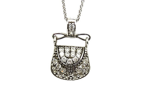 Glamorous FAS Thailand CZ Purse Clutch Hand-Bag (It Opens!) Pendant Necklace