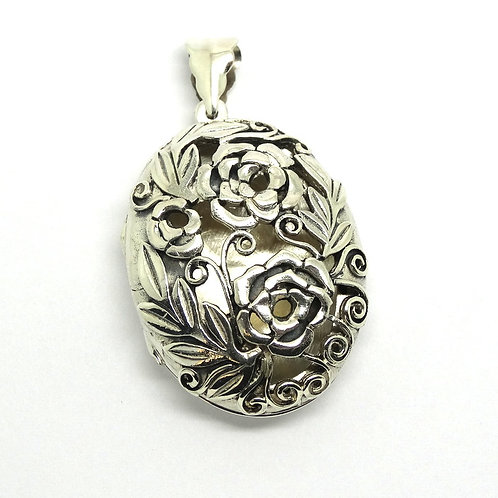 AML Sterling Silver Flower Motif Cut-Out LOCKET Pendant