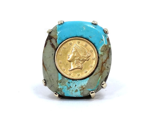 Amazing Turquoise GOLD US $1 Liberty Type 1 Coin 14k Setting Statement Ring